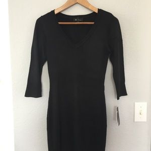 Knit black midi dress !